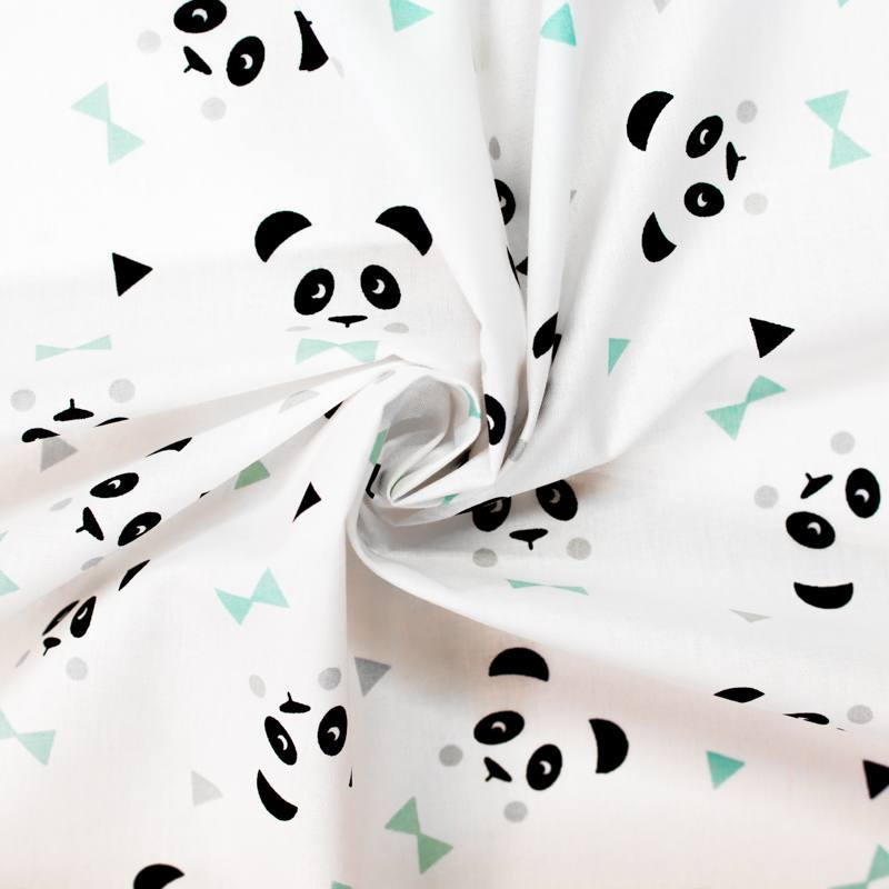 Coton blanc motif panda maony
