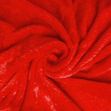Polaire soyeuse unie rouge vermillon
