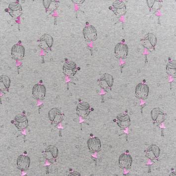 Jersey gris chiné motif fille rose