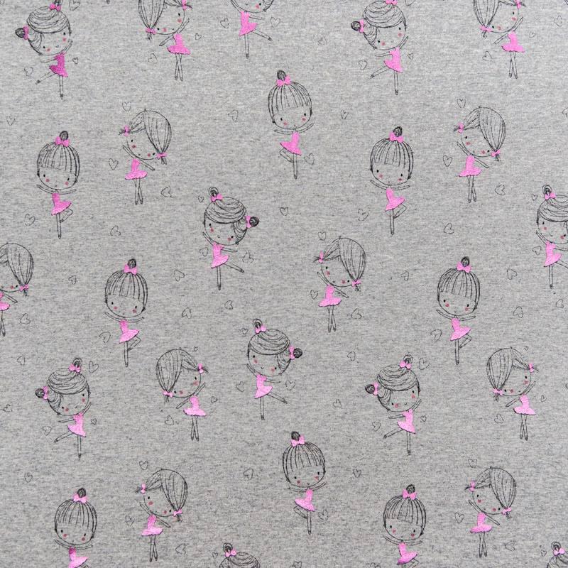 6a1028de01446 Jersey gris chiné motif fille rose