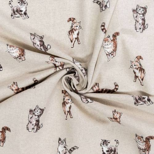 Toile aspect lin motif chat