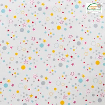 Coton blanc motif étoiles et ronds