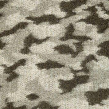 Tissu lainage effet non tissé motif camouflage écru et vert militaire
