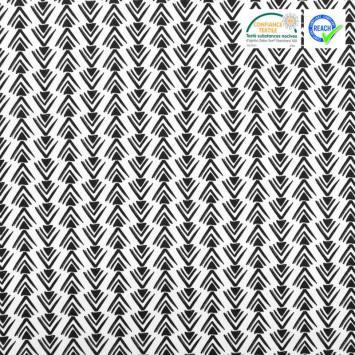 Coton blanc motif triangles et chevrons noirs