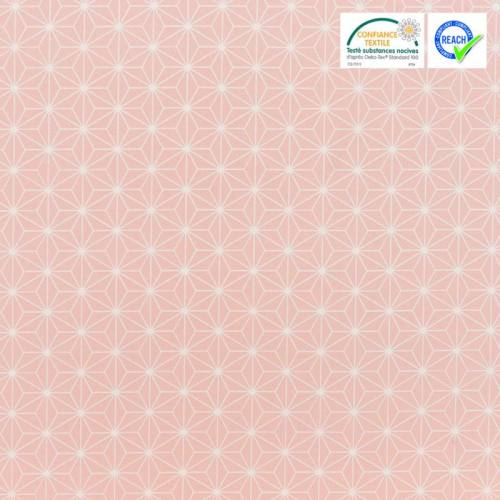 Coton rose pastel grand motif asanoha blanc