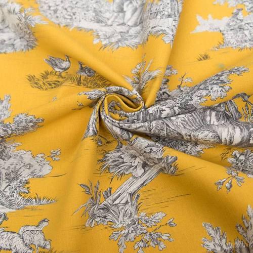 Toile de jouy jaune safran motif pastoral écru