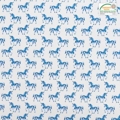 Coton blanc imprimé licorne graphique bleue