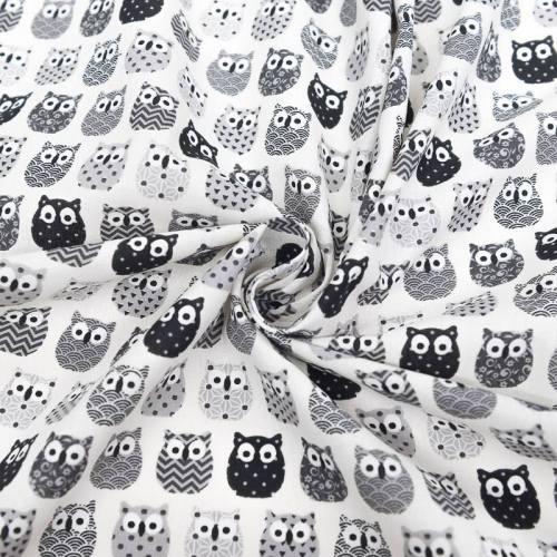 Coton écru imprimé hibou noir et gris