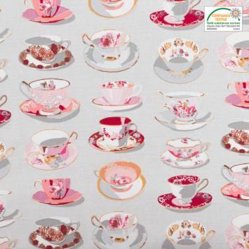 Coton cretonne gris motif tasse de thé