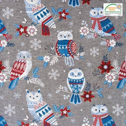 Jacquard gris motif hibou d'hiver blanc, rouge et bleu