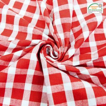 Toile coton effet tissé carreaux rouges et blancs