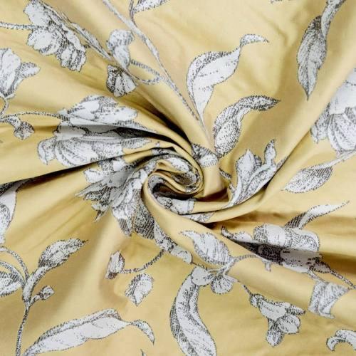 Jacquard jaune or à fleurs écrues