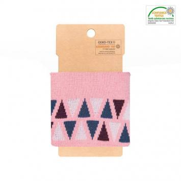 Bord-côte rose à triangles bleus