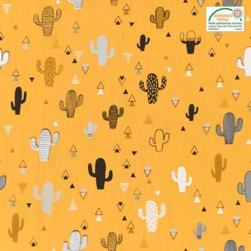 Popeline de coton ocre motif triangle et cactus