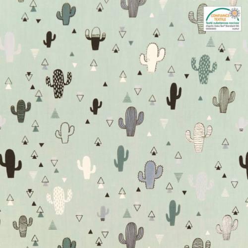 Popeline de coton vert d'eau motif triangle et cactus