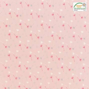 Voile de coton rose motif petit pissenlit