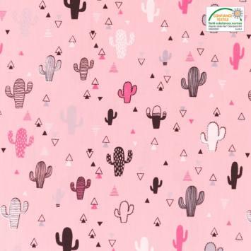 Voile de coton rose motif triangle et cactus