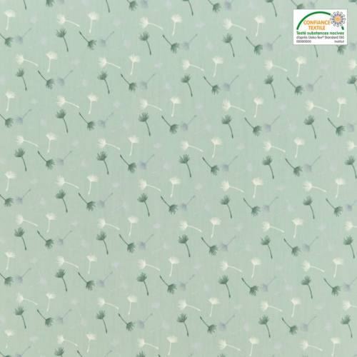 Popeline de coton vert d'eau motif petit pissenlit vert et blanc