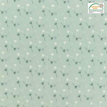 Voile de coton vert d'eau motif petit pissenlit vert et blanc