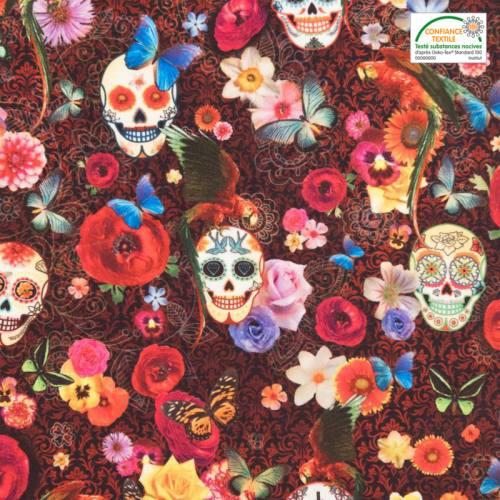 Velours ras noir motif calavera, fleurs et papillons
