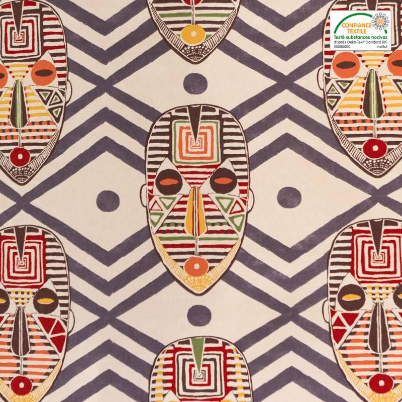 Coton bachette beige motif masque africain