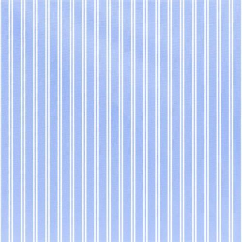 Coton pour chemisier bleu clair à double rayures blanches