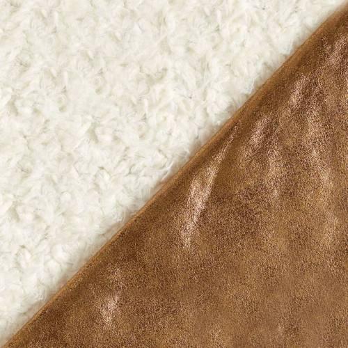 Fausse fourrure réversible bronze et blanche