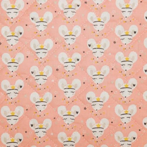 Tissu matelassé enfant motif souris coribel et fleur fimoa