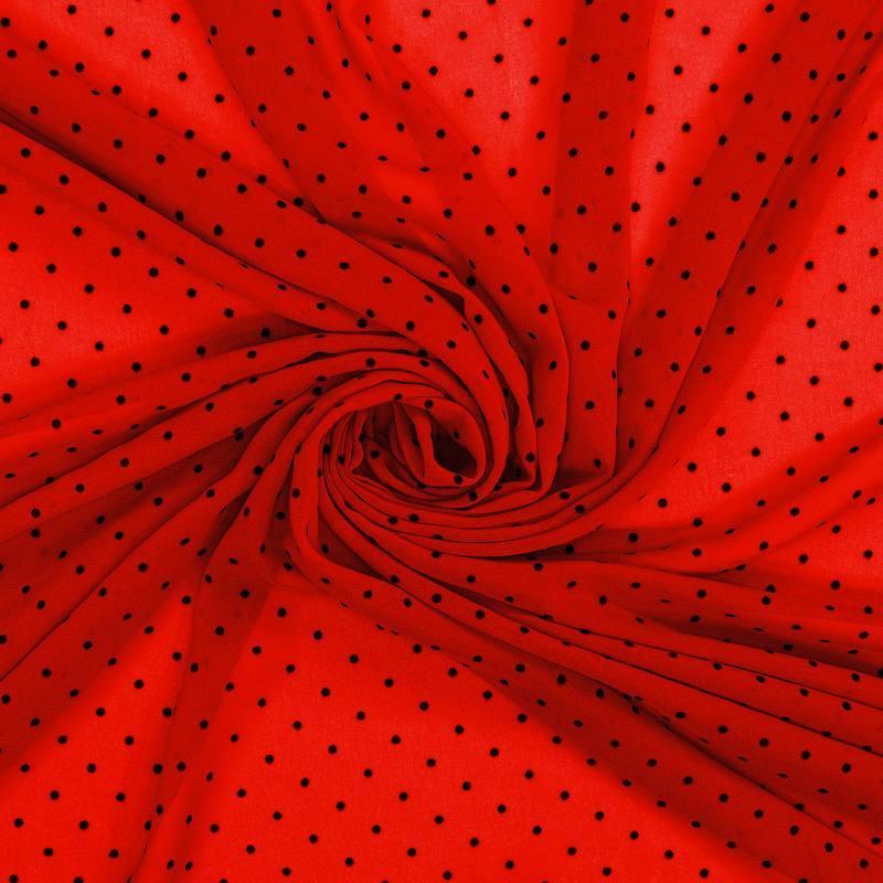 Voile plumetis rouge pois noirs