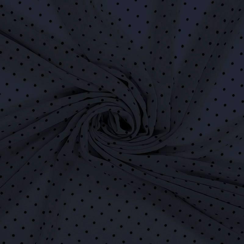 Voile plumetis bleu marine pois noirs