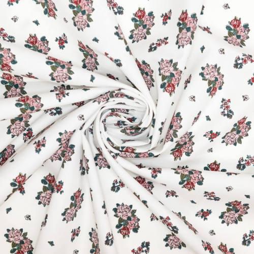 Coton blanc motif trio de roses