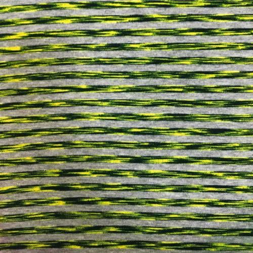 Tissu tubulaire bord-côte gris motif rayures noires et jaune fluo