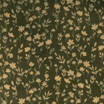 Velours ras imprimé fleur vert