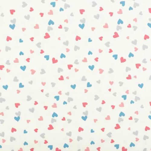 Jersey écru motif petits coeurs roses, bleus et gris