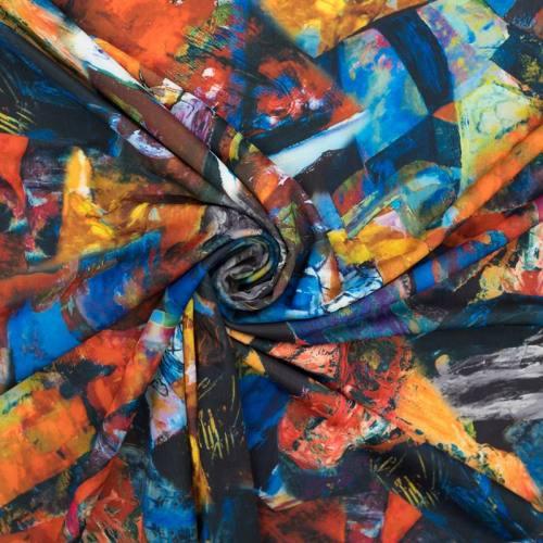 Lycra extensible motif peinture abstraite au couteau