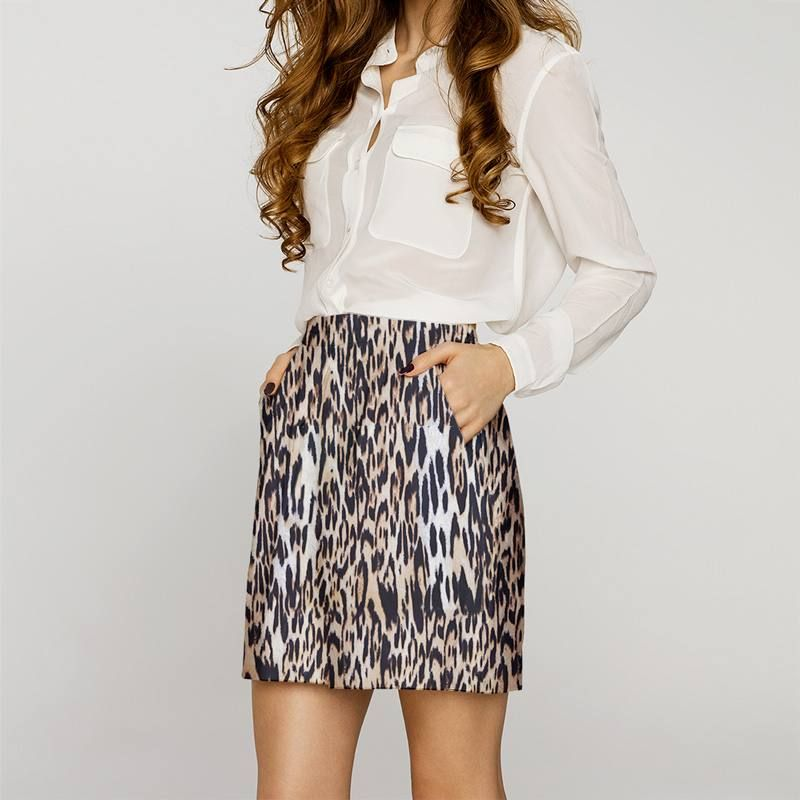 Coton stretch motif léopard