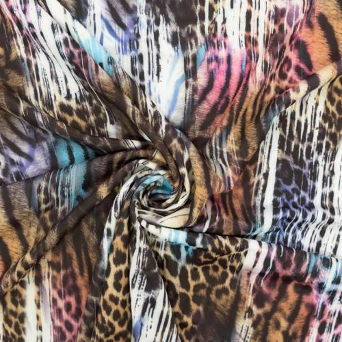 Lycra extensible motif léopard multicolore