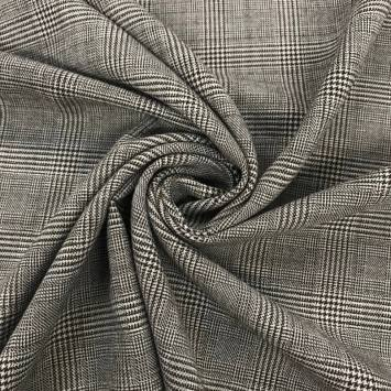 Tissu tartan gris carreaux noirs