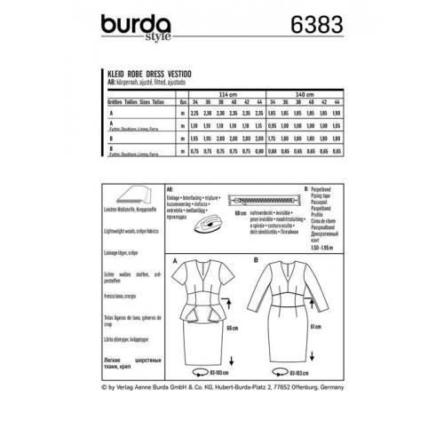 Patron Burda 6383 : Robe Taille 34-44