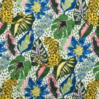 Toile coton motif léopard et jungle azur