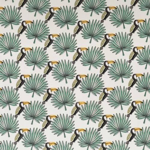 Coton blanc motif toucan et feuille de palmier