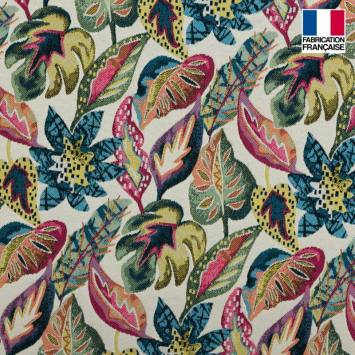 Jacquard crème motif feuilles tropicales
