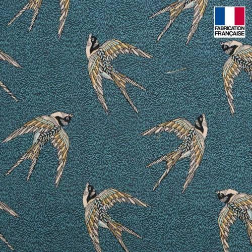 Jacquard bleu motif hirondelle