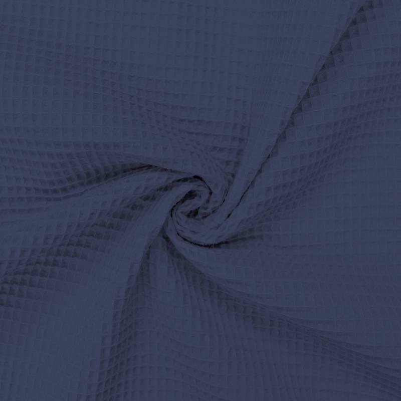 Tissu nid d'abeille bleu indigo