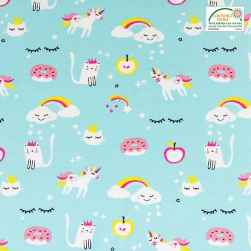 Jersey turquoise motif nuage, chat et licorne