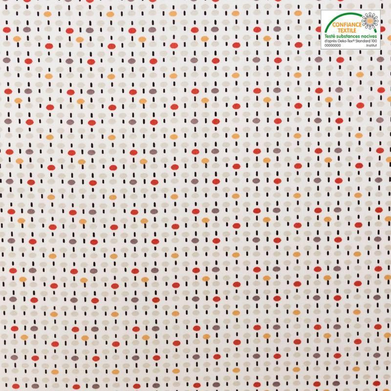 Coton blanc et rouge brique motif pois pitt