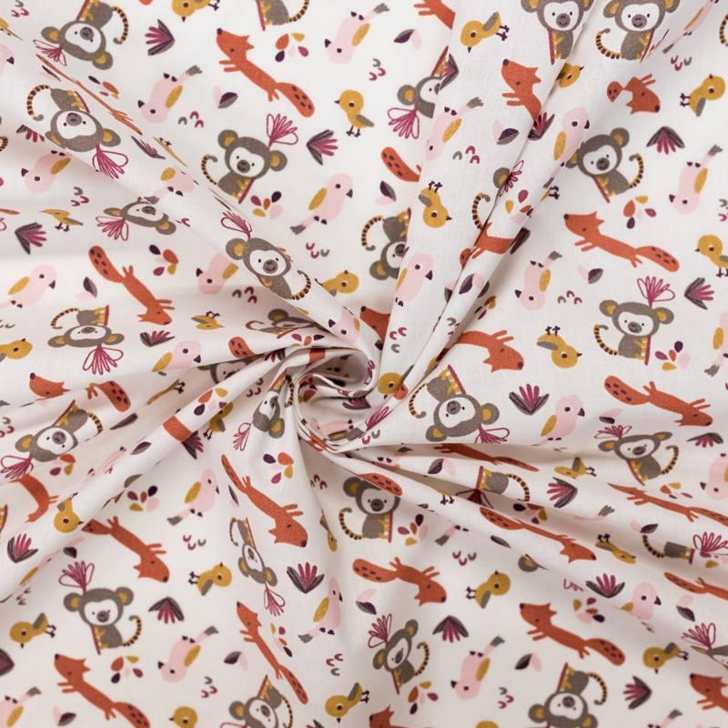 Coton blanc motif animaux de la jungle safiko rose poudré