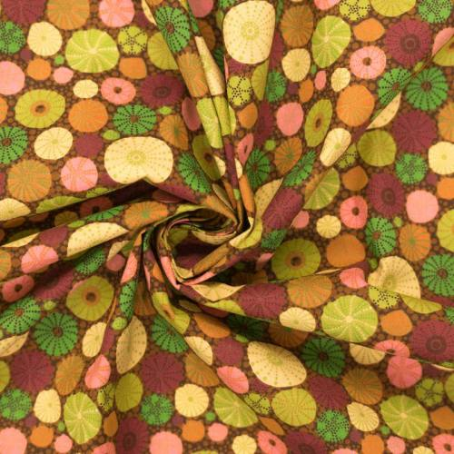 Coton marron motif squelette d'oursin vert