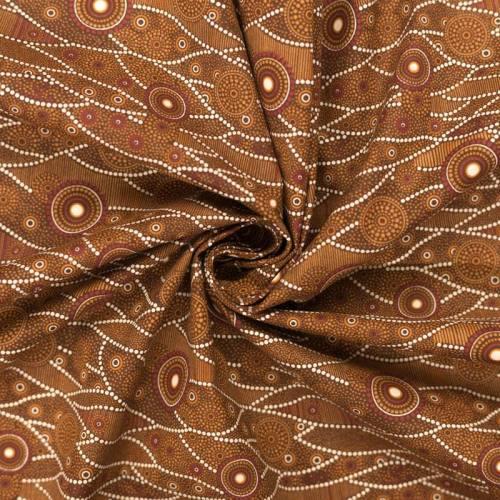 Coton marron motif japonais blanc