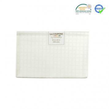Coupon 40x60 cm coton blanc motif croix samat
